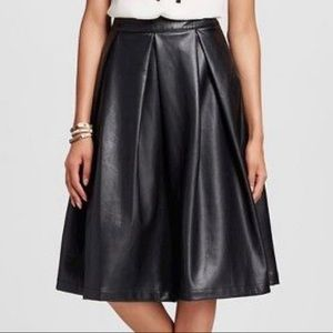 Black Faux Leather Birdcage Skirt - WHOWHATWEAR